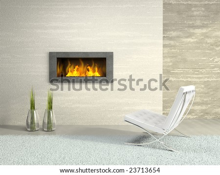 Part of the modern interior with fireplace 3D rendering - stock photo