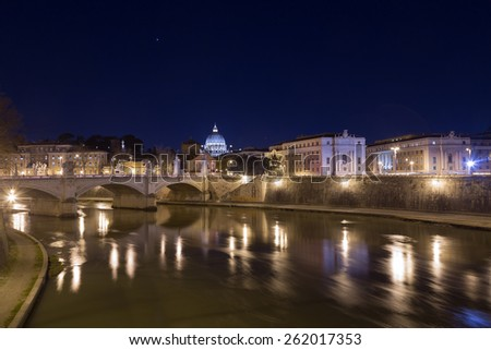 Part of the Rome Skyline showing Ponte Vittorio Emanuele II bridge and buildings near Vatican City - stock photo