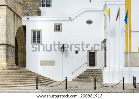 Part of the Se Cathedral in Faro, Algarve, Portugal - stock photo