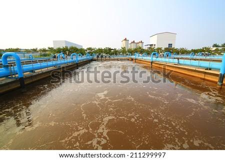 Part of the sewage treatment plant scene - stock photo