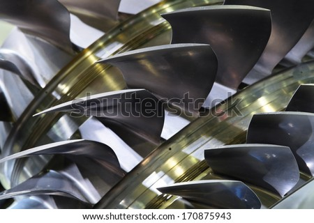 Part of the turbo-jet engine of the plane, close up - stock photo