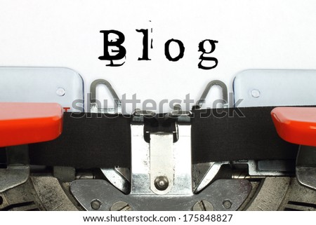 Part of typing machine with typed blog word  - stock photo