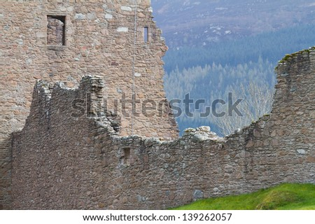 Part of Urquhart Castle at Loch Ness Inverness Highlands, Scotland UK - stock photo