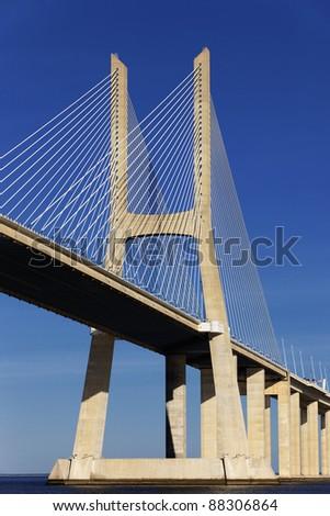 part of Vasco da Gama bridge in Lisbon - stock photo