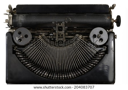 part of vintage portable typewriter with Cyrillic letters on white - stock photo
