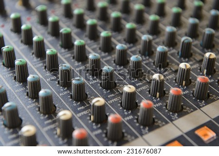 Part sound board mixer - stock photo