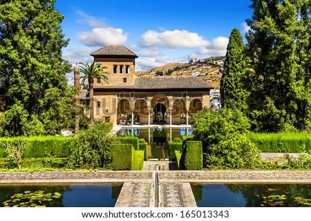 Partal Palace in La Alhambra,Granada (Andalusia), Spain - stock photo
