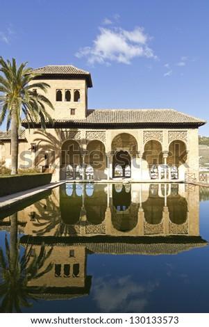 Partal zone: Walk of the Princesses (Paseo de las Infantas). Alhambra in Granada, Spain - stock photo