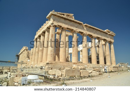 parthenon  acropolis in athens - greece - stock photo