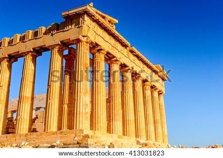Parthenon, an ancient Greek temple  dedicated to the goddess Athena, Acropolis of Athens. UNESCO World Hetiage site. - stock photo