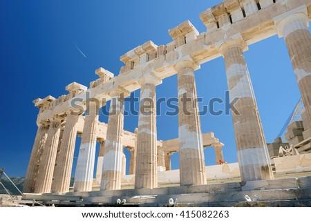 Parthenon columns at sky background - stock photo