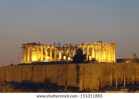 Parthenon on Acropolis of Athens, Greece - stock photo