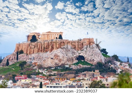 Parthenon temple and Acropolis view from downtown - stock photo
