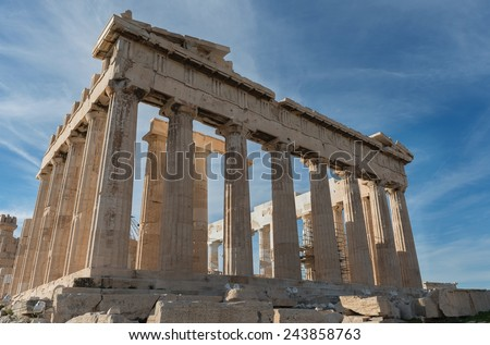 Parthenon temple in Acropolis, Athens, Greece. - stock photo