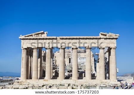 Parthenon temple in the Acropolis of Athens, Greece  - stock photo