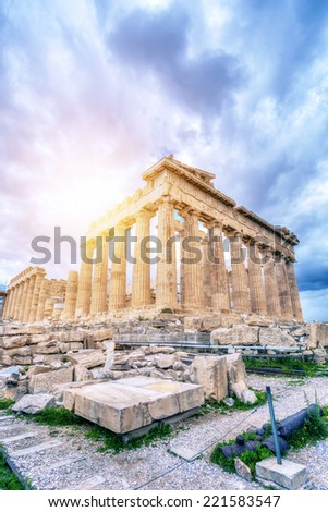 Parthenon temple on the Acropolis of Athens,Greece  - stock photo