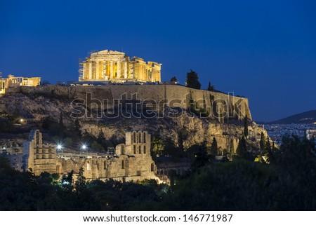 Parthenon temple on the Athenian Acropolis, Greece  - stock photo