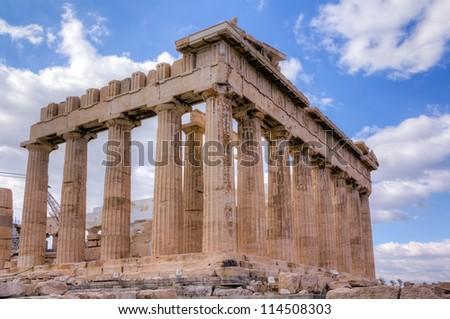Parthenon temple southeast side view, Acropolis, Athens, Greece - stock photo