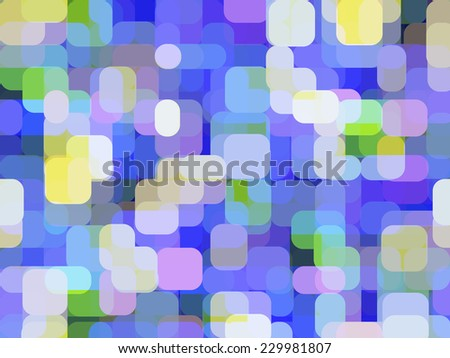 Parti-colored abstract of city lights, with rounded rectangles overlapping for illusion of three dimensions, like a dreamlike combination of window reflections and out-of-focus traffic lights - stock photo