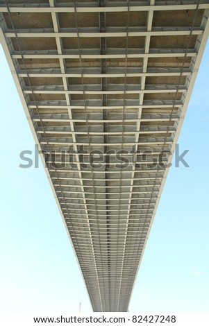 Partial of Bhumibol Bridge in Thailand, also known as the Industrial Ring Road Bridge. The bridge crosses the Chao Phraya River. - stock photo