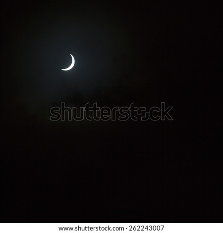 Partial solar eclipse at about 96 per cent, Edinburgh, Scotland, UK on March 20, 2015 at 09:44 hours - stock photo