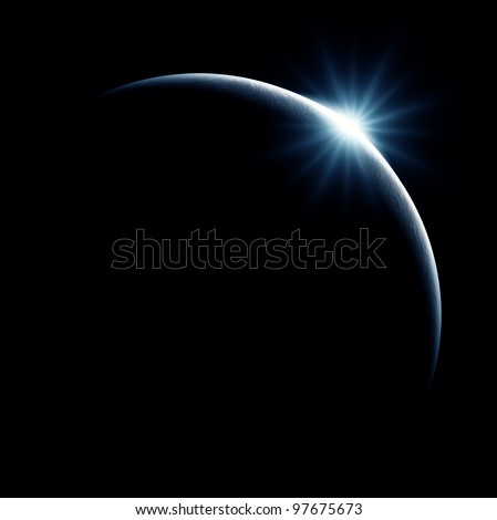 Partial Solar Eclipse on Black - stock photo