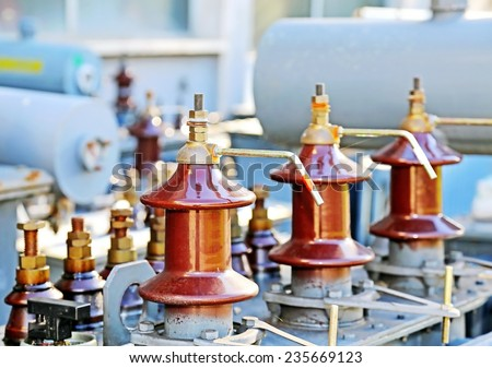particular electrical connectors of an old electric current transformer - stock photo