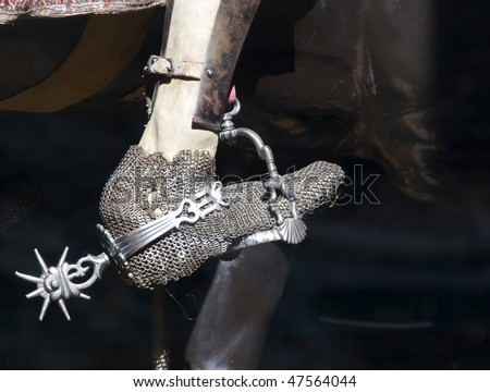 Particular of a medieval horse rider - stock photo