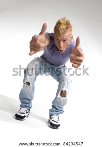 Particular style young man portrait. Urban style young man portrait. - stock photo