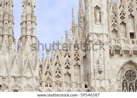 Particulars of decorations of Duomo of Milano, one of the most important monuments of christianity - stock photo