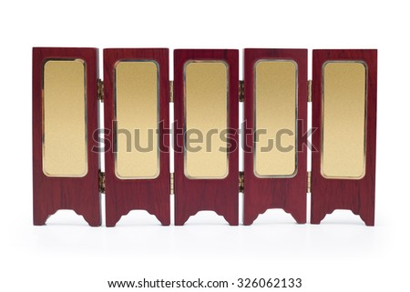 Partition screen wall wood asian old oriental  style with classic  gold plate in center - stock photo