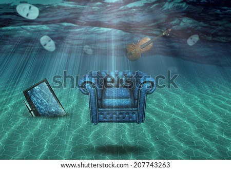 Partly Buried TV Armchair Theater Masks and Violin Under the sea - stock photo