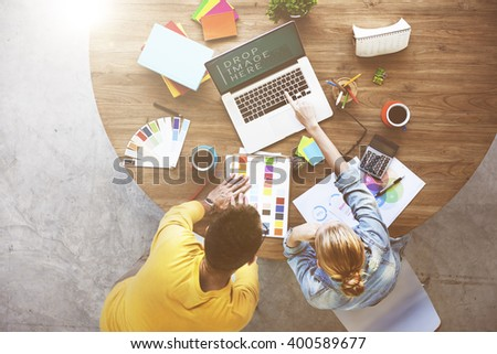 Partner Colleagues Working Aerial View Concept - stock photo