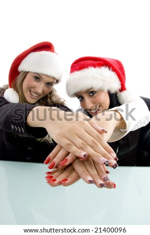 partners showing her beautiful hands on an isolated white background - stock photo