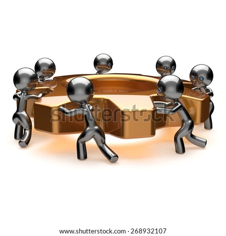 Partnership business teamwork brainstorming action process workers turning gear together team work. Cooperation relationship efficiency community workforce concept. 3d render isolated on white - stock photo