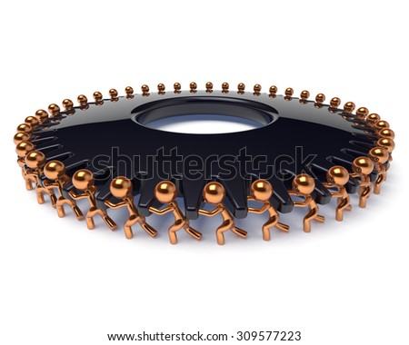 Partnership gearwheel teamwork business process men characters team work turning easy black cogwheel gear wheel together. Manpower cooperation human resources community concept 3d render isolated - stock photo