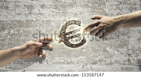Partnership in business, banking and investment. Euro symbol - stock photo