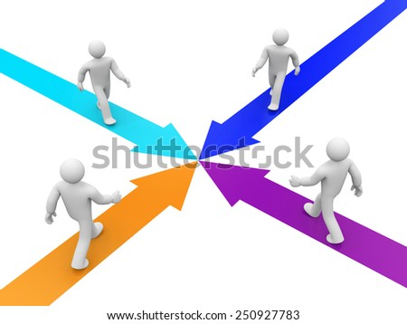 Partnership or competition metaphor - stock photo