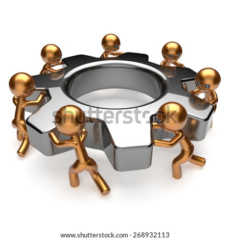 Partnership team process business workers turning gear together. Teamwork cooperation relationship efficiency community workforce concept. 3d render isolated on white - stock photo