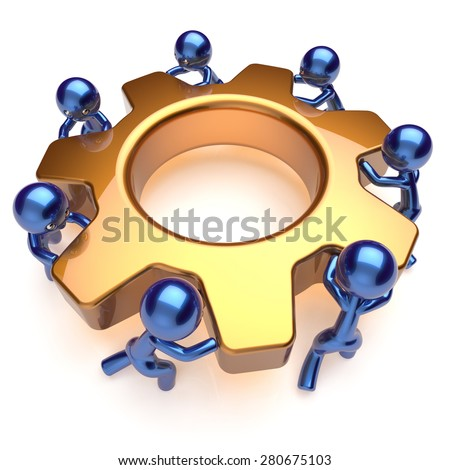 Partnership team work business process men workers turning gear wheel cogwheel gearwheel together. Teamwork manpower cooperation community make activism motion concept. 3d render isolated on white - stock photo