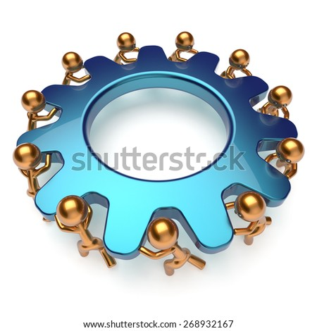 Partnership teamwork business power process workers turning gear together. Team cooperation efficiency relationship community workforce concept. 3d render isolated on white - stock photo