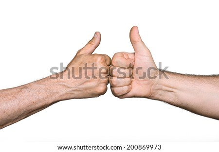 Partnership. Thumbs up sign isolated on white - stock photo