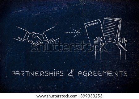 partnerships & agreements: handshake and hands holding signed documents - stock photo