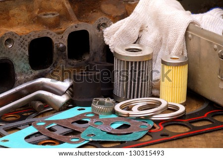 parts for engine repair - stock photo