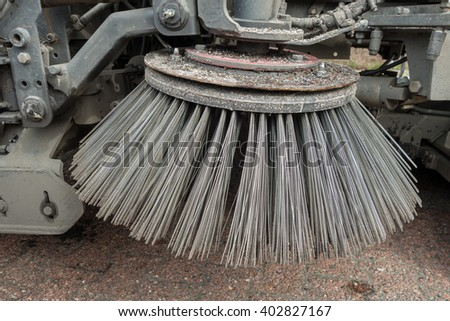 parts of a street cleaning vehicle - stock photo