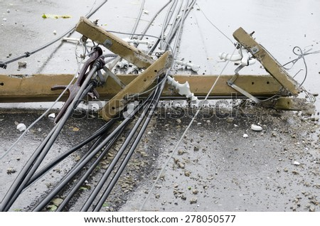Parts of Electric pole damage after storm - stock photo