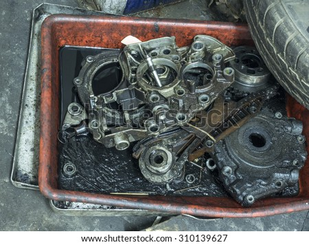 parts of engine - stock photo