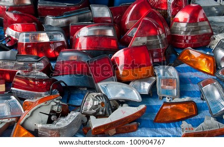 parts of tail light in market second hand - stock photo