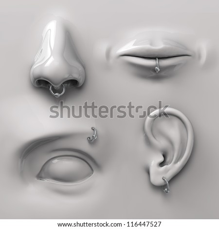parts of the face with piercing - stock photo