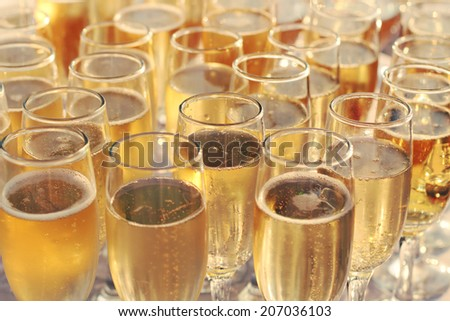 Party background. Champagne in glasses. Photo toned style Instagram filters - stock photo